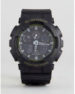 G-shock Ga-100l-1aer Digital Silicone Watch In Black
