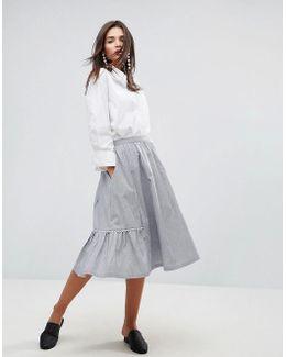 Scalloped Edged Cotton A-line Midi Skirt