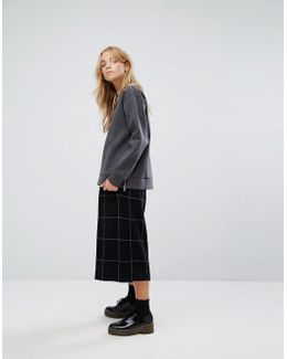 Check Wool Blend Culottes