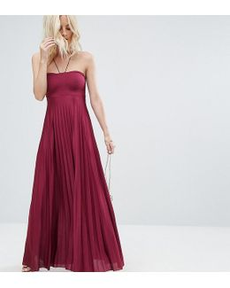 Pleated Maxi With Strappy Neck Dress