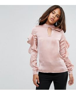 Ruffle Detail Satin Blouse