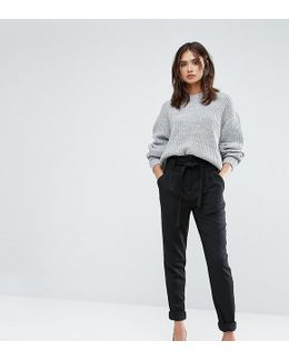 Slim Leg Tailored Pants With Belted Waist