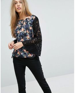 Floral Top With Lace Sleeves