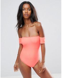 Ribbed Bardot Swimsuit