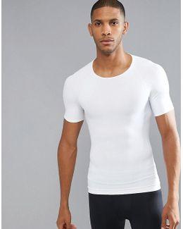 Cotton Compression T-shirt Hard Core In White
