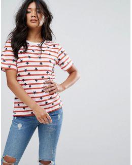 Striped Star Print T-shirt