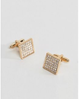 Gold Plated Cufflinks With Crystals