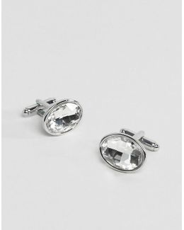Cufflinks In Silver With Crystal