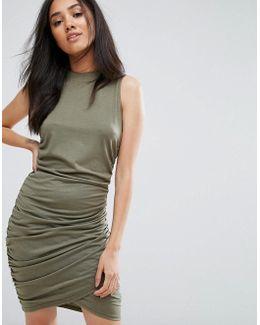 Khaki High Neck Wrap Slinky Mini Dress