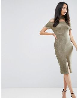 Khaki Off The Shoulder Choker Dress With Capped Sleeves