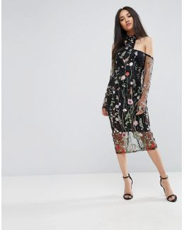 T-bar Long Sleeve Embroidered Floral Choker Dress With 3/4 Mesh Sleeves