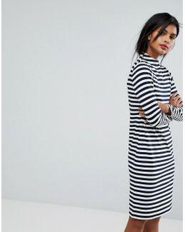 Striped High Neck Jumper Dress