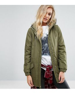 Parka Jacket With Faux Fur Trim Hood