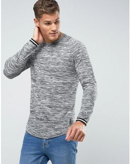 Man Longline Space Dye Sweater In Gray