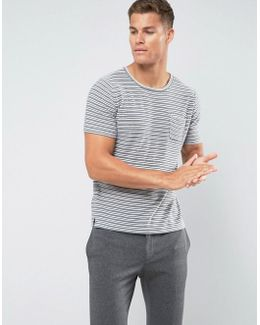 Man Striped T-shirt In Grey And White