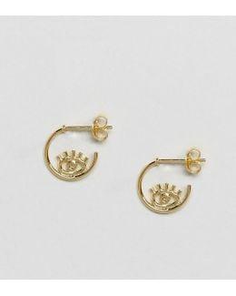 Gold Plated Sterling Silver Open Hoop Eye Stud Earrings
