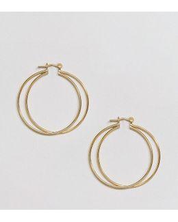 Gold Plated Sterling Silver Fine Double Hoop Earrings