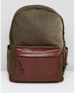 Defender Backpack In Waxed Canvas
