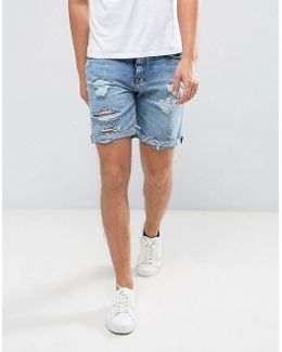 Distressed Denim Shorts In Mid Wash