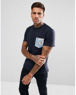 T-shirt Floral Pocket Regular Fit In Navy Marl