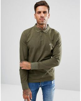 Pique Polo Long Sleeve Heritage Slim Fit In Green Marl