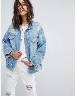 Pearl Embellished Trucker Denim Jacket