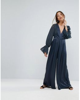 V-neck Wide Leg Jumpsuit With Flared Sleeve