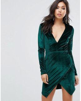 Satin Plunge Front Dress With Wrap Skirt Detail