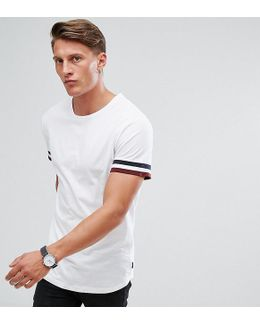 T-shirt With Stripe Cuff And Curved Hem