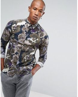 + Slim Fit Shirt With All Over Floral Print