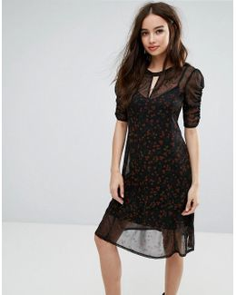 Overlay Printed Ruched Dress