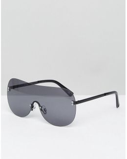 Visor Sunglasses In Gray With Matte Black Arms