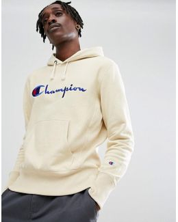 Hoodie With Script Logo In Stone