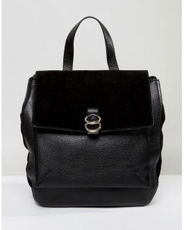 Leather And Suede Ring Backpack
