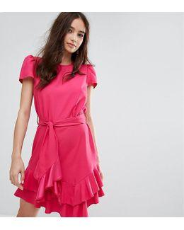 Exclusive Tie Waist Ruffle Dress