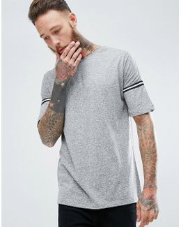 Man Striped Sleeve T-shirt In Grey