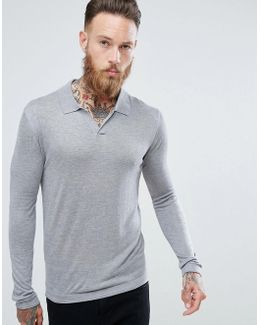 Man Knitted Polo With Revere Collar In Grey