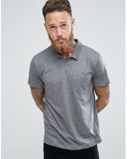 Man Jersey Polo With Revere Collar In Grey