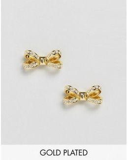 Rose Gold Olitta Mini Opulent Pave Bow Earrings