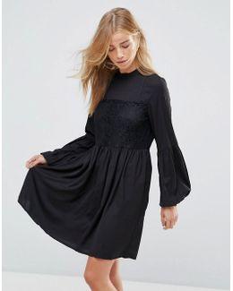 Lace Detail Smock Dress