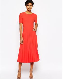 Textured Pleated Midi Dress