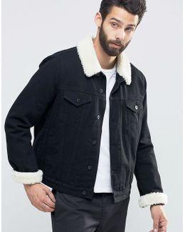 Denim Jacket With Borg Collar In Black Wash
