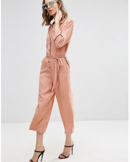 Jumpsuit With Culotte Leg And Contrast Piping