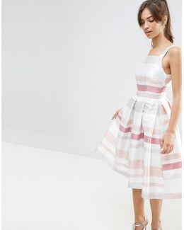 Stripe Vintage Midi Prom Dress
