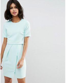 Textured Double Layer Mini Wiggle Dress