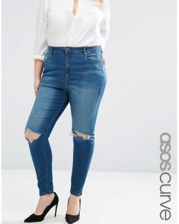 High Waist Ridley Skinny Jeans In Mahogony Dark Wash With Rip