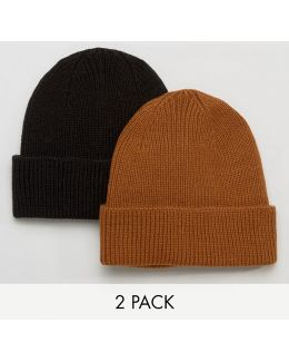 Fisherman Beanie 2 Pack In Black And Tobacco Save