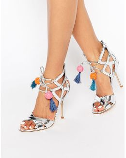 Azela Silver Heeled Sandal With Tassels