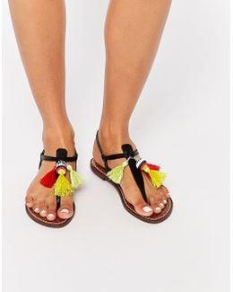 Garsem Black Tassel Toe Post Flat Sandal