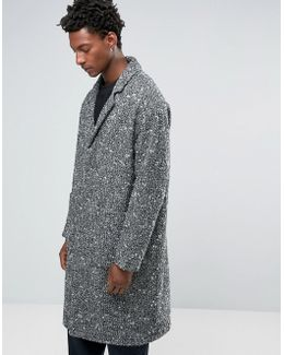 Textured Overcoat In Black And White